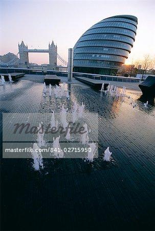 City Hall with Tower Bridge behind, London, England, United Kingdom, Europe