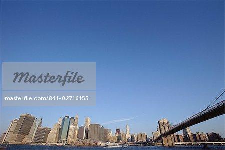 Brooklyn Bridge and city skyline, New York City, New York, United States of America, North America