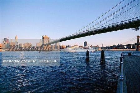 Brooklyn Bridge and cruise ship, New York, United States of America, North America