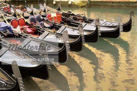 A line of gondolas, Venice, Veneto, Italy, Europe