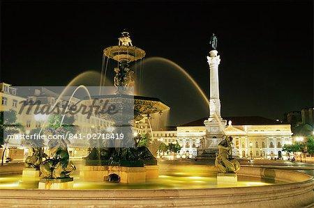 Rossio Square (Dom Pedro IV Square) at night, Lisbon, Portugal, Europe