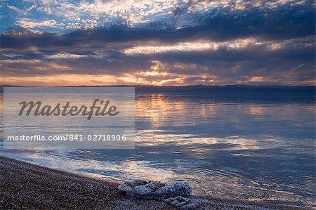 The Dead Sea, with salt crystals, Jordan, Middle East