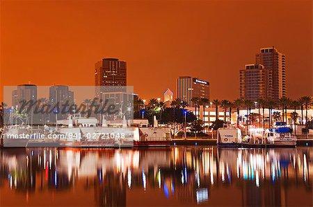 Rainbow Harbor and skyline, Long Beach City, Los Angeles, California, United States of America, North America