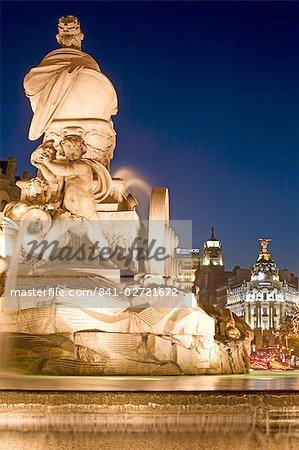 Cibeles Square (Plaza de Cibeles) and Cibeles fountain, Calle de Alcala at Christmas time, Madrid, Spain, Europe