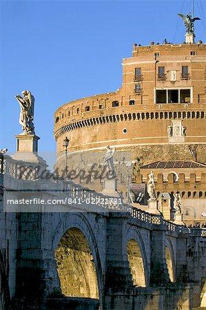 St. Angelo Castle (Castello San'Angelo) and St. Angelo Bridge, Rome, Lazio, Italy, Europe