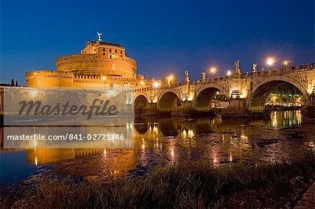 St. Angelo Castle (Castello San'Angelo) (Mole Adriana) and St. Angelo Bridge, Rome, Lazio, Italy, Europe