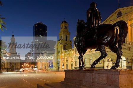 Close-up of the equestrian statue of Pedro de Valdivia in front of the Museo Historico Nacional in Plaza de Armas, Santiago, Chile, South America