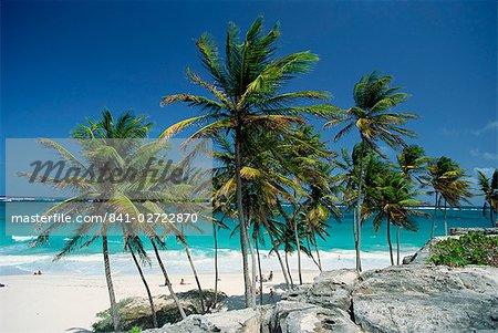Tropical coastline at Bottom Bay, Barbados, West Indies, Caribbean, Central America