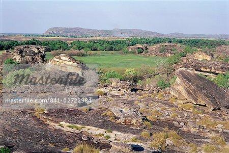 View from Ublrr Rock, aboriginal rock art site, part of the sandstone escarpment on park border, Kakadu National Park, UNESCO World Heritage Site, Northern Territory, Australia, Pacific