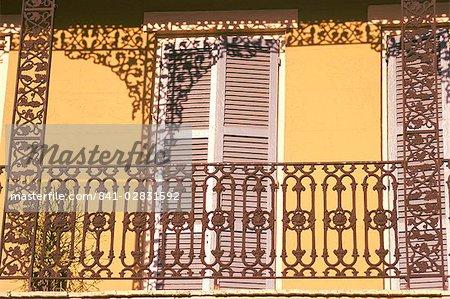 Iron lace balcony, New Orleans, Louisiana, United States of America, North America