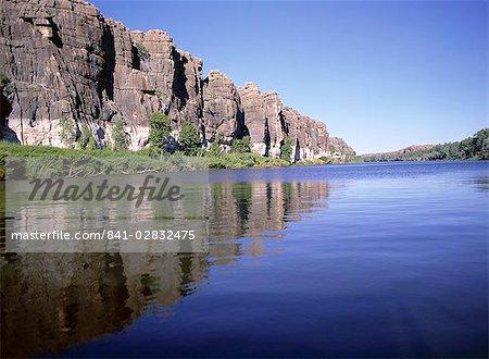 Cliffs of Geike Gorge, showing annual flood level of Fitzroy River, near Fitzroy Crossing, Kimberley, Western Australia, Australia, Pacific