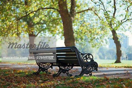 Empty park bench, Hyde Park, London, England, United Kingdom, Europe