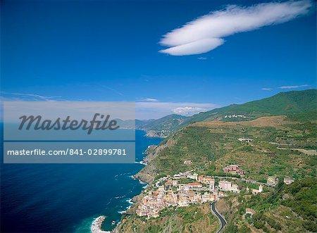 Aerial view of town of Riomaggiore, Cinque Terre, UNESCO World Heritage Site, Liguria, Italy, Europe