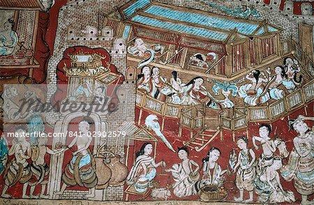 Murals, Ananda temple, Bagan (Pagan), Myanmar (Burma), Asia