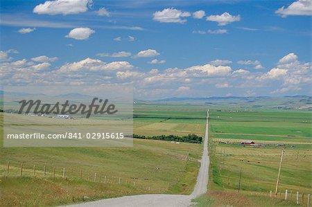 Road across prairie wheatlands, south of Calgary, Alberta, Canada