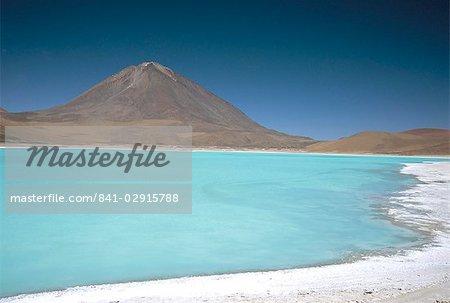 Laguna Verde with mineral flat margin and Volcan Licancabur, 5960m, Southwest Highlands, Bolivia, South America