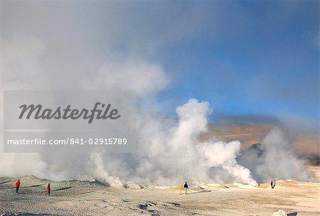 Steam fumaroles in geothermal field, Sol de Manana, near Laguna Colorado, Southwest Highlands, Bolivia, South America