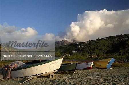 Old road bay beach and volcano, Montserrat, Leeward Islands, West Indies, Caribbean, Central America