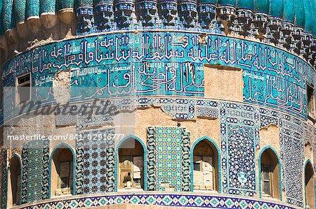 Detail of turquoise glazed tiles on Shrine of Khwaja Abu Nasr Parsa, Balkh (Mother of cities) Balkh province, Afghanistan, Asia