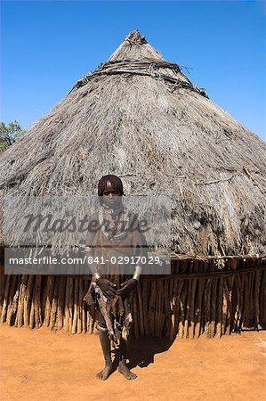 Hamer (Hamar) girl in goatskin dress, Dombo Village, Turmi, Lower Omo Valley, Ethiopia, Africa