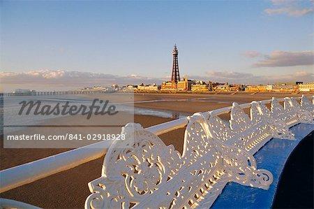 Blackpool tower and pier, Lancashire, England, United Kingdom, Europe