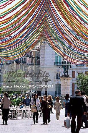Pedestrian street with decorations, Puerta del Sol, Madrid, Spain, Europe