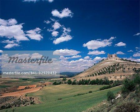 View to castle on hill above fields, Jadraque, Guadalajara, Castilla-La Mancha (New Castile), Spain, Europe