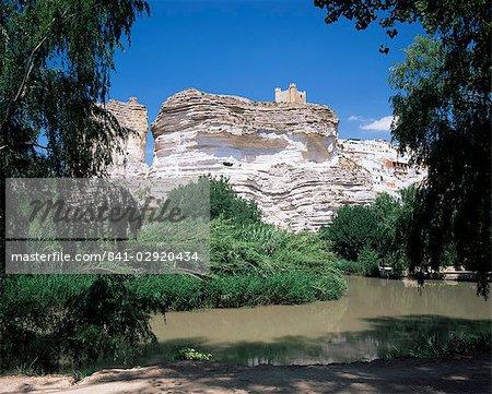 View to castle on top of chalk cliffs on the Jucar River, Alcala del Jucar, Albacete, Castilla-La Mancha (New Castile), Spain, Europe