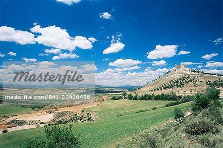 View to castle on hill above fields, Jadraque, Guadalajara, Castilla-La Mancha, Spain, Europe