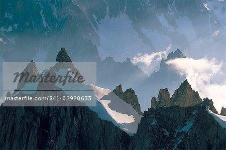 View to Aiguilles de Chamonix, Aiguille du Midi, Chamonix, Haute-Savoie, Rhone-Alpes, France, Europe