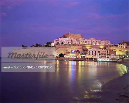 The Citadel by night, Peniscola, Costa del Azahar, Valencia, Spain, Mediterranean, Europe