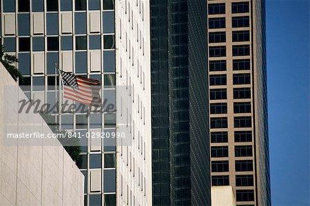 Stars and Stripes and skyscrapers, Dallas, Texas, United States of America, North America