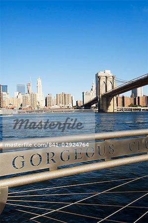 Manhattan skyline, Brooklyn Bridge and the East River from the Fulton Ferry Landing, Brooklyn, New York City, New York, United States of America, North America