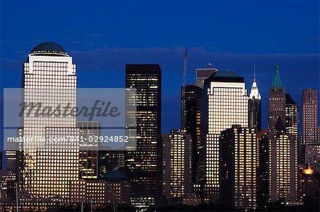 Lower Manhattan skyline at dusk across the Hudson River, New York City, New York, United States of America, North America