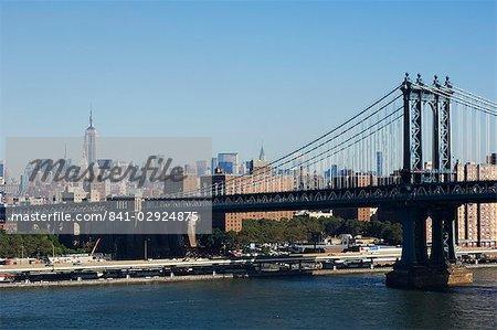 Manhattan Bridge and Mid Town Manhattan, New York City, New York, United States of America, North America