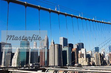 Manhattan skyline from the Brooklyn Bridge, New York City, New York, United States of America, North America