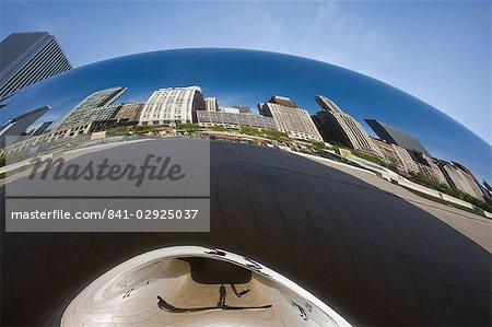 Cloud Gate sculpture in Millennium Park reflecting the skyscrapers of North Michigan Avenue, Chicago, Illinois, United States of America, North America