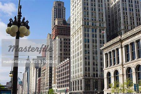 Buildings along North Michigan Avenue, Chicago, Illinois, United States of America, North America