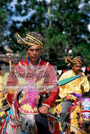 Annual display of horsemanship by Bajau people at Kota Belud Tamu or market, Sabah, Malaysia, island of Borneo, Asia