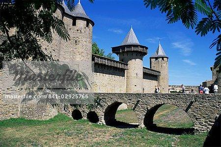 Inner castle, Carcassonne, UNESCO World Heritage Site, Aude, Roussillon, France, Europe