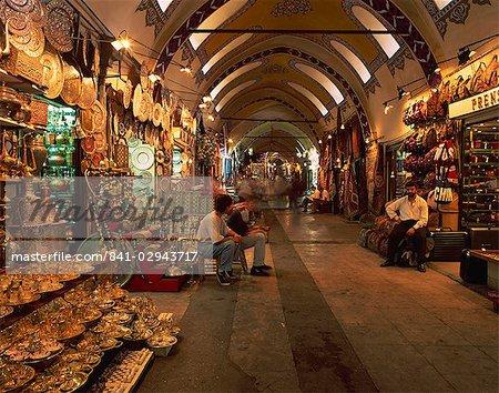 Interior of the Grand Bazaar in Istanbul, Turkey, Europe