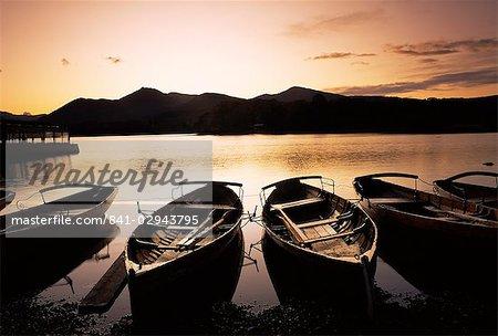 Sunset at Derwent Water, Keswick, Lake District, Cumbria, England, United Kingdom, Europe