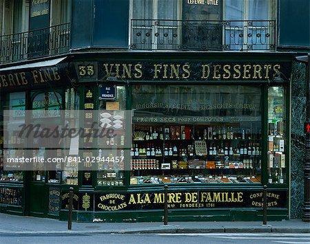 Wine shop facade, Paris, France, Europe