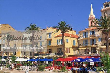 Outdoor restaurants, Calvi, Balagne region, Corsica, France, Europe