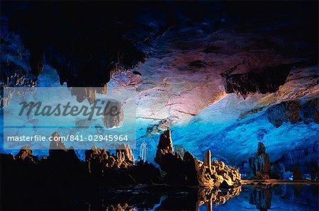 Guilin Cave, floodlit stalactites and stalagmites, China, Asia