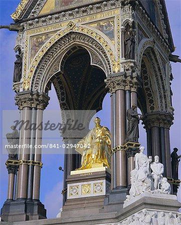 Statue of Prince Albert, consort of Queen Victoria, the Albert Memorial, Kensington Gardens, London, England, United Kingdom, Europe