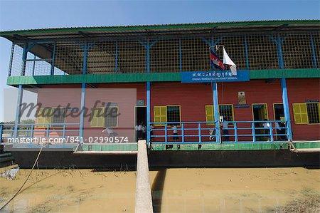 Floating school, Tonle Sap Lake, near Siem Reap, Cambodia, Indochina, Southeast Asia, Asia
