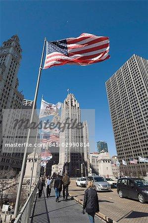 Wrigley Building on left, Tribune Building center, Chicago, Illinois, United States of America, North America