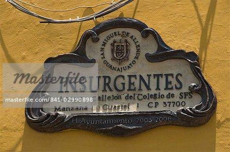 Street sign, San Miguel de Allende (San Miguel), Guanajuato State, Mexico, North America