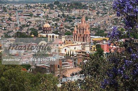 View from the Mirador over La Parroquia church, San Miguel de Allende (San Miguel), Guanajuato State, Mexico, North America